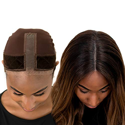 Milano Collection Lace GripCap for Women, 2 in 1 Lace Wig Grip Band Plus Wig Cap for Lace Wigs & Frontals with Reinforced Swiss Lace by Hairline and Part For Seamless Transition, Chocolate Brown