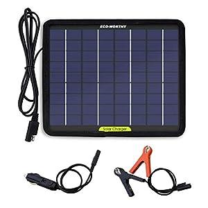 ECO-WORTHY cargador de batería portátil de 12 voltios y 5 vatios con panel solar para coche