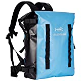 Bassdash Waterproof TPU Backpack 24L Roll-Top Dry Bag with Rod Holder for Fishing, Hiking, Camping, Kayaking, Rafting