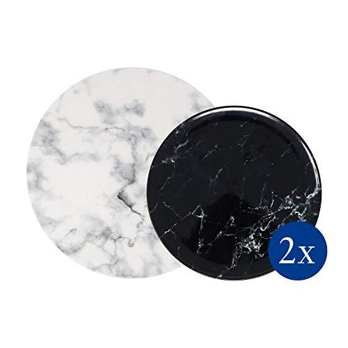 like. by Villeroy & Boch - Marmory Teller-Set, 4 tlg., Marmor-Optik, spülmaschinen-, mikrowellengeeignet, schwarz/weiß