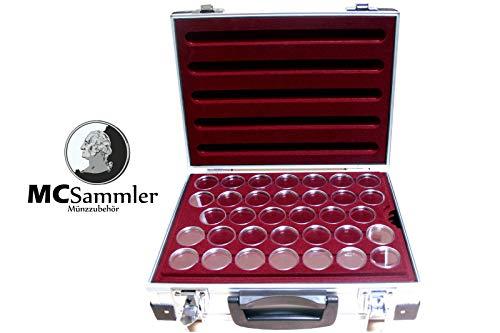 MC.Sammler Alu Münzenkoffer Münzkoffer inkl 5 Münztableaus für 170 STK 10 Euro Münzen in Kapseln (mit 170 Münzkapseln 32,5mm)