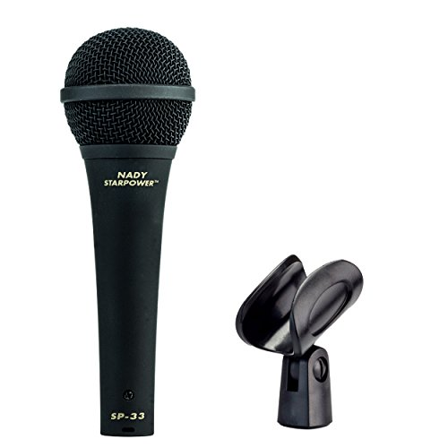 Nady SP-33 Dynamic Vocal Microphone - 50Hz-16kHz frequency range, aluminum alloy voice coil and easy-to-grip comfortable rubber coating, incudes microphone clip