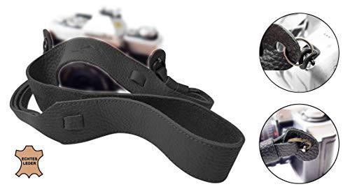 Echt Leder Kameragurt Schultergurt - SCHWARZ - für DSLR SLR und Kompakt-Kamera - Leder-Gurt breit Vintage Kameraband Tragegurt Trageriemen - passend für Canon Nikon Sony - MIND CARE ESSENTIALS