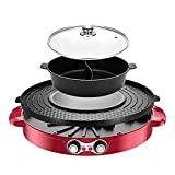 Double Pan Electric Fondue Grill and Pot Hot Pot BBQ 2 In 1 Large Capacity for 6 People Dual Separate...