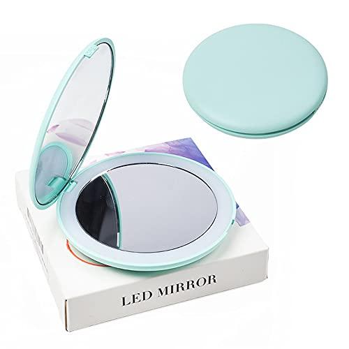 RUMUI 2X HD Miroir de maquillage éclairé grossissant 4 couleurs Mini rond Portable LED Miroir de maquillage Sensation Miroir de maquillage pliable
