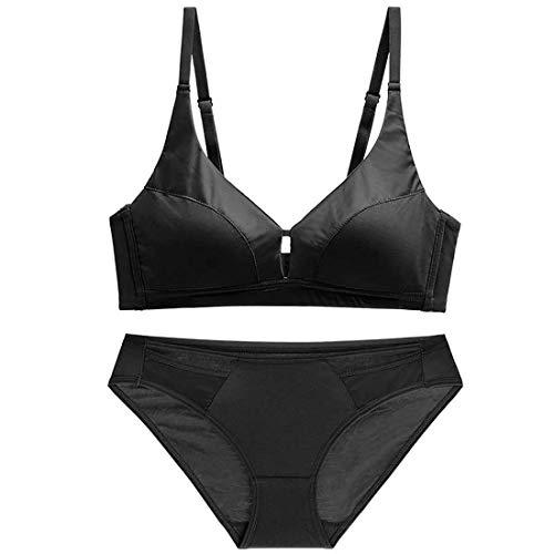 LVWSW Damen Sexy Dessous Sets, Gesammelt Thin Section Bequeme Stoß- Sport BH BH und Panty Set,Black_70B=30B=65B