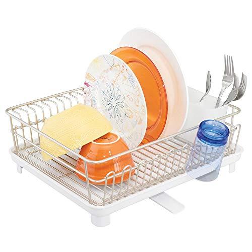 mDesign étendoir à vaisselle avec bac d'égouttement – égouttoir à vaisselle pour l'évier – sèche vaisselle avec bac récepteur en métal et plastique – argenté mat et blanc