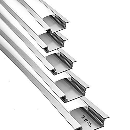 Perfil de empotrar aluminio para LED tira con difusor opaco PACK 10 metros con soporte de montaje U,barra disipador en aluminio en tiras de 2 mts, canal con soporte de montaje,tapas finales