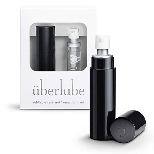 Überlube Kit de viaje de gel lubricante | Lubricante para el sexo anal, de silicona natural con vitamina E - compatible con látex | Sin perfume, sin sabor, sin residuos - 15ml negro