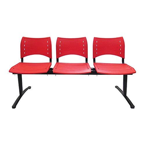Cadeira Longarina 3 Lugares Vermelha Evidence Executiva
