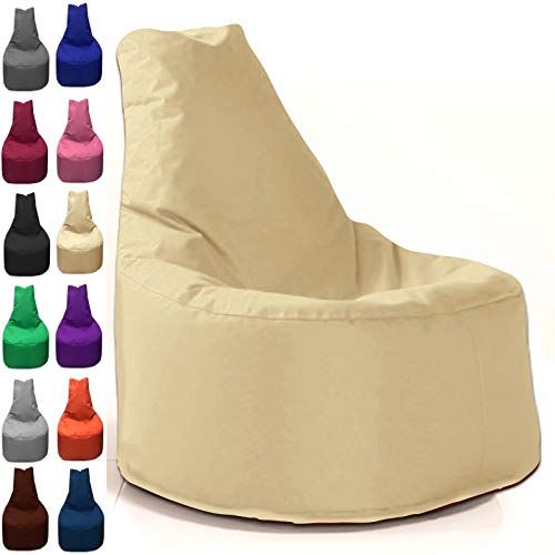 Sitzbag Sitzsack Sessel XL - XXL für Kinder und Erwachsene - In & Outdoor Sitzsäcke Kissen Sofa Hocker Sitzkissen Bodenkissen (XXL - 80cm Durchmesser, Beige)