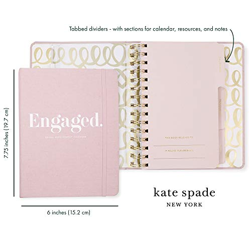 Product Image 3: Kate Spade New York Undated Wedding Planner Organizer Weekly and Monthly, Bridal Appointment Calendar Book, Engaged (Blush)