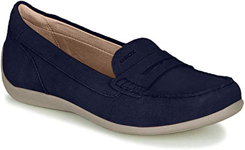 Geox Damen SlipperMokassins D Yuki, Frauen Slipper, weibliche Lady Ladies feminin elegant Women's Women Woman Freizeit leger,DK Navy,39 EU / 6 UK