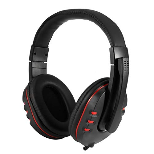 Instelbaar volume leer USB wirred stereo bas-hoofdtelefoon hoofdtelefoon met microfoon voor Sony PS3 PC zwart Kaemma (kleur: zwart)