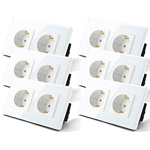 BSEED 6 Paquete Enchufe de pared,Schuko Enchufe Doble,toma de corriente Doble con Panel de cristal Blanco,16A 250V enchufes de extensión para Cocina, Dormitorio, Oficina, Hotel, etc