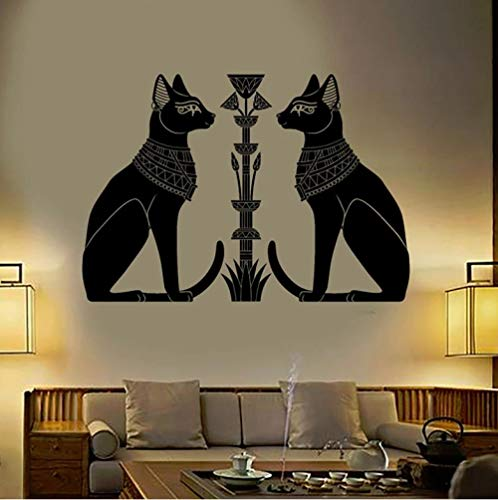 Calcomanía de vinilo para pared gatos egipcios Bastet Antiguo Egipto Dios pegatinas de pared para el hogar sala de estar dormitorio decoración pegatinas 42X30 CM