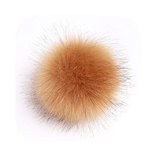 happy-Boutique Pompom Faux Fur 12 cm Tassel Ball Hat DIY Ball Cap Multicoloured – Khaki