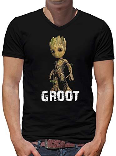 TShirt-People I am Groot Baby V-Kragen T-Shirt Herren L Schwarz