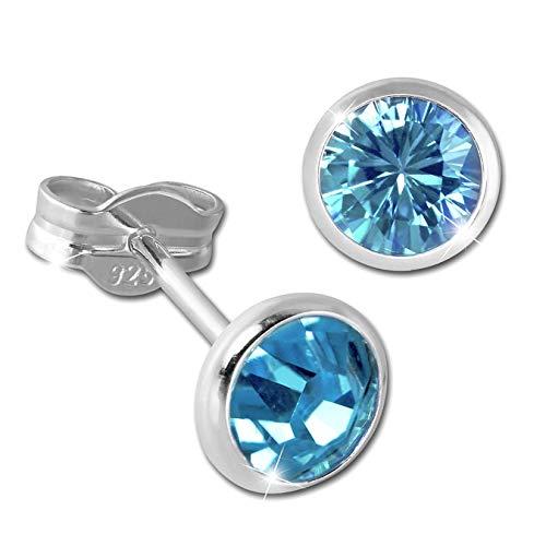 SilberDream Ohrstecker Damen 925 Silber hellblau Zirkonia Ohrringe 5mm D3SDO5535H Silber, Zirkonia Ohrschmuck für die Frau