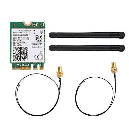 Express Wireless-Karte, Intel 9260-Netzwerkkarte + 2-dB-Antenne NGFF/M.2-NIC-Ethernet-Karte Netzwerkkarte mit schneller Übertragungsgeschwindigkeit für Linux/Google Chrome OS/Windows