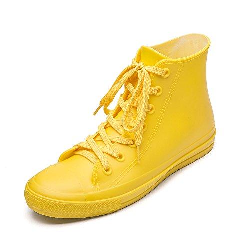 DKSUKO Women's Rain Boots Waterproof High Top Rain Shoes with Lace Up Anti-Slip Garden Shoes (9 B(M) US, Yellow)