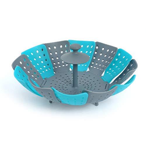 ADMIN 2 unidades de bandeja de vapor ajustable con mango extensible para verduras y frutas, cesta plegable, inoxidable, apta para lavavajillas, comida para bebés (2 unidades azul)