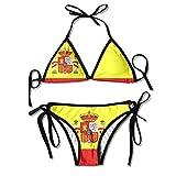 Traje De Baño,Bikini De Boxeo con Arnés Sexy De Bandera Española Bikini De Mujer con Cuello Halter Y Top De Bikini Sexy con Tanga