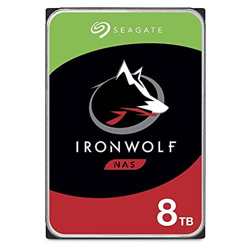 Seagate IronWolf, 8 TB, NAS, Disco duro interno, HDD, CMR 3.5' SATA 6 GB/s, 7200 RPM, caché de 256 MB para almacenamiento conectado a red RAID, 3 años de Rescue, Paquete Abre-fácil (ST8000VNZ04)