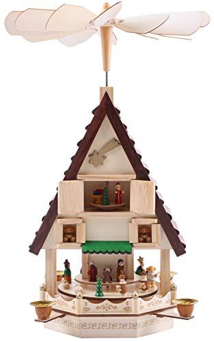 Brubaker Weihnachtspyramide Adventshaus 49 cm - Weihnachtskrippe auf 4 Etagen - Kerzenpyramide mit 4 Kerzenhaltern aus Metall - Holz Natur - handbemalte Figuren