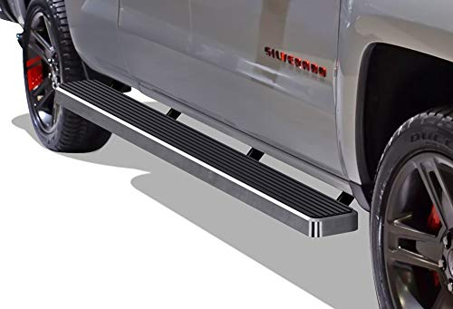 APS Wheel to Wheel iBoard 6 inches Custom Fit 2007-2018 Chevy Silverado GMC Sierra Double Cab Extended Cab 8ft Bed & 2019 2500 HD 3500 HD (Exclude 07 Classic) (Nerf Bars Side Steps Side Bars)