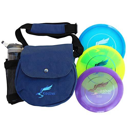 Kestrel Discs Golf Pro Set | 3 Disc Pro Pack Bundle + Bag | Disc Golf Set | Includes Distance Driver, Mid-Range and Putter | Small Disc Golf Bag (Blue)