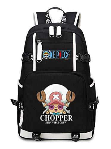 WANHONGYUE One Piece Tony Tony Chopper Anime Mochila Escolar Estudiante Bolso de Escuela Backpack Mochila para Portátil Negro-23