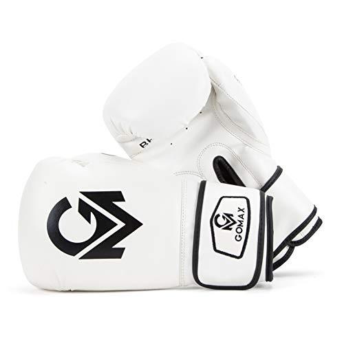 GoMax Leder-Boxhandschuhe 6,8,10,12,14,16g Boxhandschuhe für Training Boxsack Sparring Boxsack Handschuhe Fäustlinge Muay Thai Kickboxen MMA Kampfsport Workout Handschuhe (10 Unzen, Weiß)