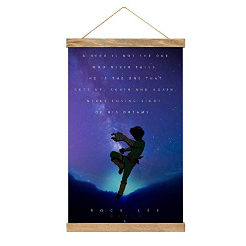 Rock Lee Anime Naruto Quote Canvas Hanging Scroll Paintings,Canvas Poster Hanging Poster,Art Poster Wall Decoration,Include Wooden Strips and lanyard-13.20''x20.47''(33.5x52cm)