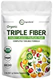 Organic Triple Soluble Fiber Powder (Inulin, Acacia, Psyllium Husk), 2 Pounds (32 Ounce), 3 in 1 Fiber Complex, Premium Fiber Prebiotics Supplement for Digestive Health, Water Soluble, Non-GMO, Vegan