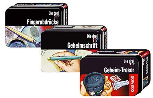 Die DREI ??? Fragezeichen - 3 tolle Detektiv-Sets in der Dose : Fingerabdrücke, Geheimschrift und Geheim-Tresor