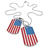 UMtrade Army Style Mens 2pcs Enamel American Flag Dog Tag Pendant Necklace