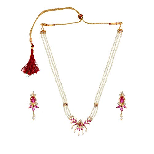 Efulgenz Indian Bollywood 14 K goud vergulde zirkonia faux parel Choker ketting oorbel bruidssieraden set