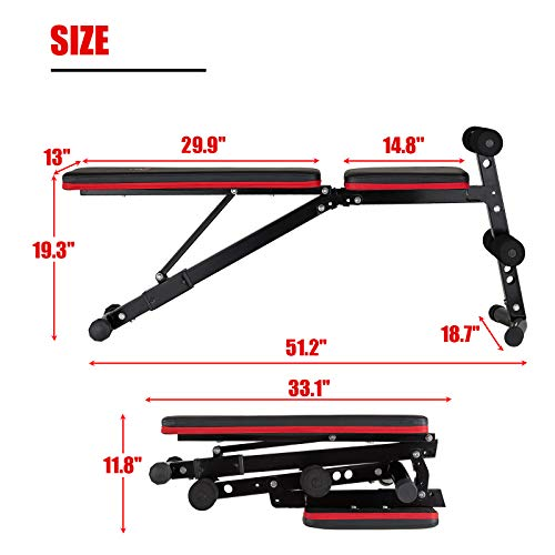papababe Adjustable Weight Bench- Upgraded Wider Backrest, Adjustable Bench, Foldable Workout Bench for Full Body Workout
