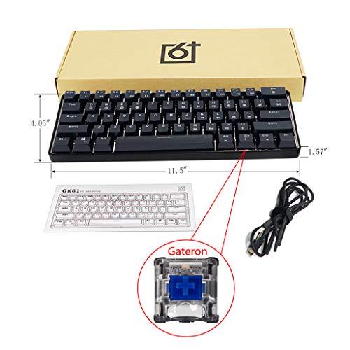 JOYKK RGB Teclado mecánico con Cable retroiluminado Teclado portátil Compacto a Prueba de Agua Mini Gaming 61 Teclas Interruptores Gateron - Eje Azul