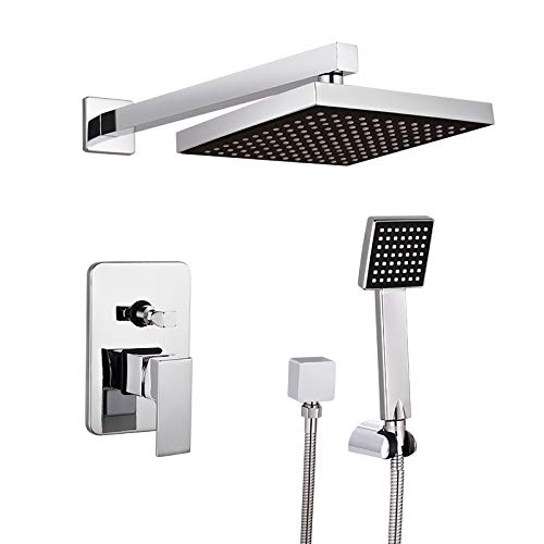 8 Inches Bathroom Luxury Rain Mixer Shower Combo Set Wall Mounted Rainfall Shower Head System Polished Chrome Shower Faucet Rough-in Valve Body and Trim Included Metal Showerhead
