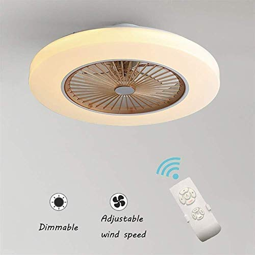 JIAN Exquisite Lighting ZjNhl plafondventilator met lamp, 36 W creatieve onzichtbare fan LED plafondlampbesturing afstandsbediening dimbare fluisterstille Can timer-ventilator kroonluchter moderne woonkamer sch