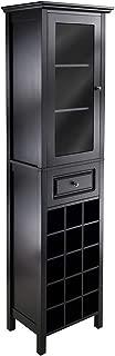 Wood & Style Premium Décor Burgundy Wine Cabinet 15-Bottle, Glass Door