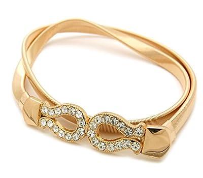Metal Ribbon Bow Buckle Piece Stretch Waist Chain Belt Gold, Silver Tone (Rhinestone Gold Tone)