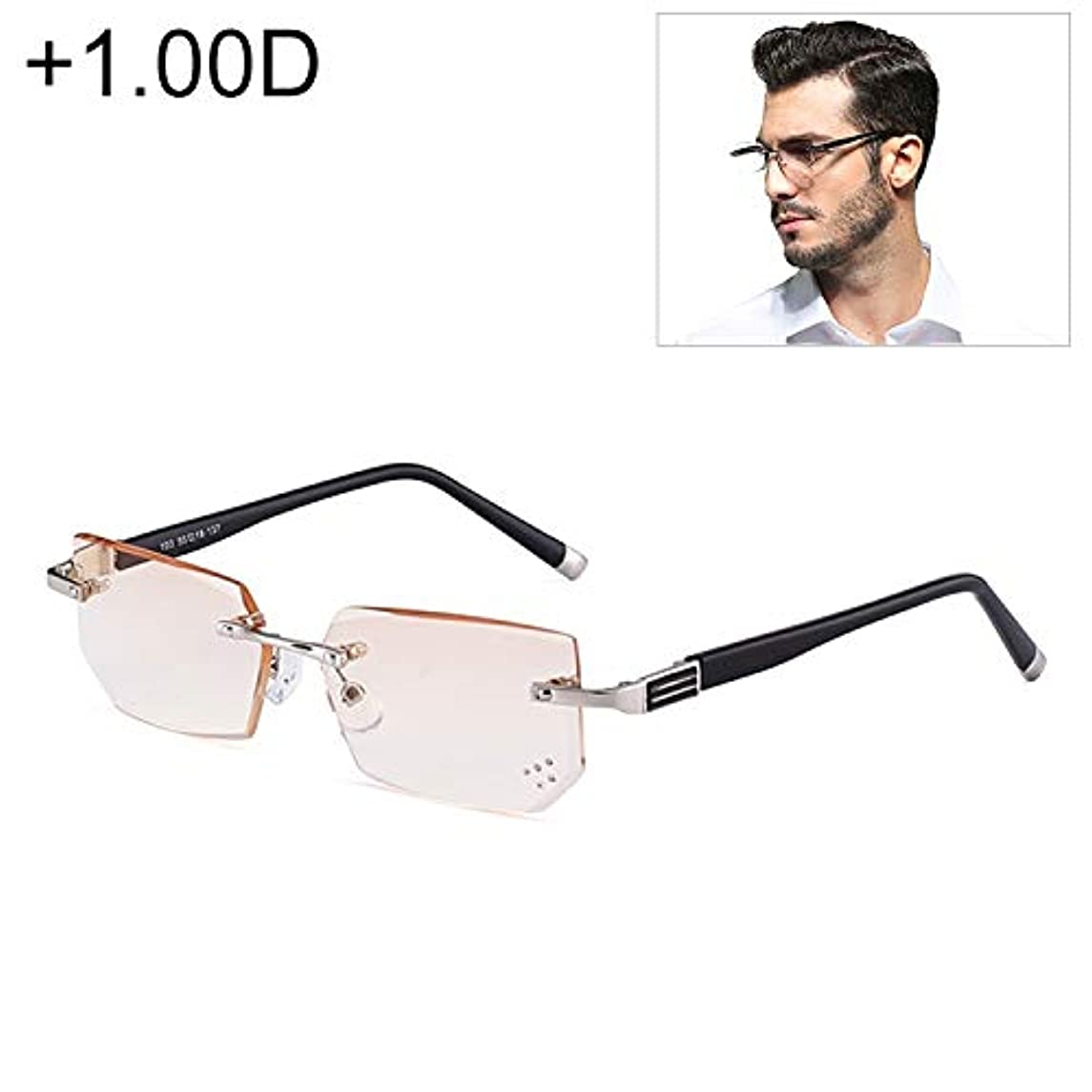 ベアリングロッカーあいまいさDiffomatealliance Glasses メガネファクトリーメンズアンチ疲労&ブルーレイリムレスラインストーントリミングされた老眼鏡、+ 1.00 D