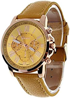 Shocknshop Geneva Yellow Color Unisex Watches Roman Numerals Fau PU Leather Analog Quartz Women Men Casual Relogio Wrist Watch -W06YELOW