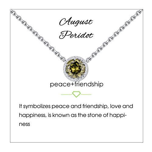 Qings Collar de Piedra de Nacimiento de Agosto Plata de Ley 925 Peridoto Piedra de Nacimiento de Piedra Preciosa Collares Colgante Collares de Mujer para Mujer Cumpleaños