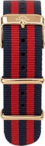 Sailor Damen Herren Nylon Armband Haiti blau-rot BSL101-2008-20, Breite Armband:20mm (normal), Farbe