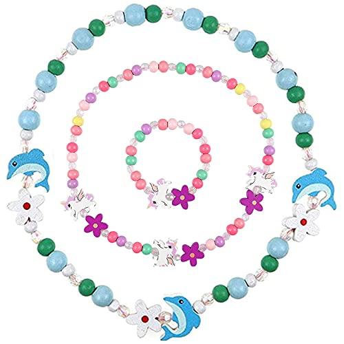 ZRWLZT Colorida Unicornio Collar Pulsera Unicornio Pulsera Amistad Pulsera Niña Princesa Collar Pulsera Conjunto Adecuado para Fiestas de Princesas, Cumpleaños Regalos de Fiesta etc 2 Piezas