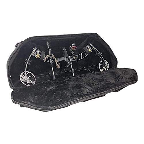 DarkForest BC-4 Compound Bow Case Deluxe Fur Archery Cases with Accessories and Arrow Quiver Pockets - Black 40'x15.5' Storage